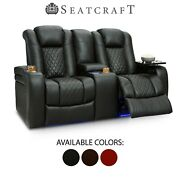 Seatcraft Anthem Leather Home Theater Seating Double Recliner Loveseat Seat
