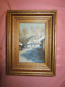 Winter Snow Landscape Original Hand Painted Oil Painting Small Framed