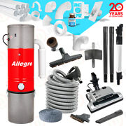 Allegro Central Vacuum Electric Powerhead 30and039 Hose 3 Inlet 80ft 2 Pipe Package