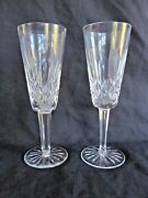 Pair Waterford Crystal Lismore Champagne Flute Stemware Bride And Groom Toast