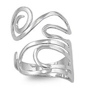 Flexible Adjustable Swirl Thumb Ring New .925 Sterling Silver Band Sizes 4-10