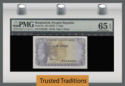 Tt Pk 5a 1973 Bangladesh 1 Taka Pmg 65 Epq Gem Unc Only Certified Example Known