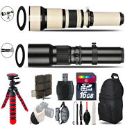 500mm-1300mm Telephoto Lens For D610 And D750 + Flexible Tripod And More - 16gb Kit