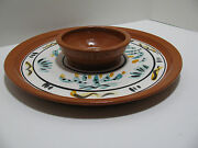 Art Pottery Stoneware Chip and Dip Hand Made & Handpainted Serving Dish - Signed