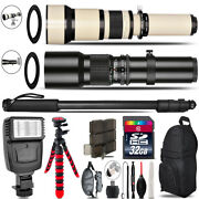 500mm-1300mm Telephoto Lens For Rebel T5 T5i + Flash + Tripod And More - 32gb Kit