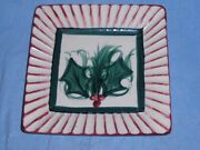 """RARE VINTAGE 1995 GAIL PITTMAN 8"""" HOLLYLUJAH Fluted Square Serving Plate Signed"""