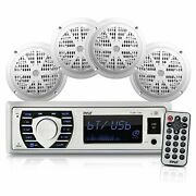 Pyle Bluetooth Marine Stereo Receiver And 4x 6.5andrdquo Waterproof Speakers White