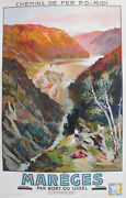 1936 French Vintage Travel Railway Poster Mareges Dam By E. Paul Champseix