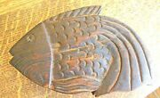 Antique Wooden Oriental Fish Shaped Herb/opium Scale Hand Carved Complete
