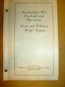 Instructions For Overhaul And Operation Pratt And Whitney Wasp Engine