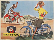 1950s Vintage French Mid-century Modern Griffon Peugeot Poster - Pierre Couronne