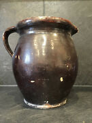 31304 Xl Antique French Pottery Milk Pitcher Alsace France 1850