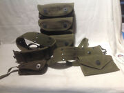Us Army Wwii Era 1945 Grenade Carrier W/belt- First Aid Pouch Supplies