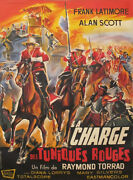 1964 French Vintage Movie Poster, Charge Des Tuniques Rouges, Cavalry Charge
