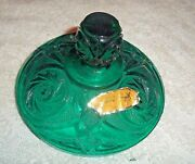 Green Glass Candy Trinket Lid Only Inter Lip 3 3/4 Outer 4 1/8 Many Uses 7