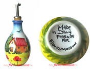 Italian Handmade Painted Ceramic OLIVE OIL BOTTLE Made in Italy for Frenchmaison