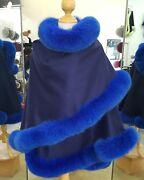 Fur Cape Royal Blue Cashmere With Fox Trim Beautifully Canadian
