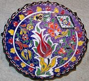 "Purple & Blue 7"" Turkish Iznik Red Tulip Pattern Handmade Raised Ceramic Plate"