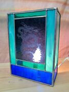 New Handmade Stained Glass Blue Dragon Hanging Wall Sconce Light
