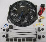10 Curved S-blade Electric Radiator Cooling Fan + Thermostat Install Kit 210anddeg