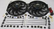 Dual 12 S-blade Electric Radiator Cooling Fan + Thermostat Relay Kit 1500 Cfm