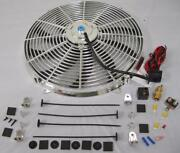 16 Chrome Electric S-blade Heavy Duty Cooling Radiator Fan + Thermostat Kit