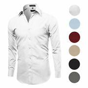 Menand039s Classic Fit Long Sleeve Wrinkle Resistant Button Down Premium Dress Shirt