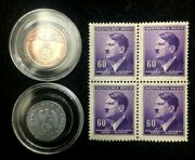 Authentic German Ww2 Coins And Unused Purple Stamps - Antique Historical Artifacts
