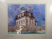 Lou Mcmurray Watercolor Print Signed Lighthouse Rose Island, Ri