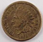 1860 1c Indian Cent Us Mint Coin