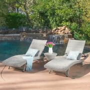 Crystal Outdoor Grey Wicker Chaise Lounge Set Of 2 With Grey Wicker Table