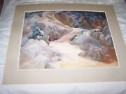 Signed Original Watercolor By Peg Humphreys, Matted Boulder Mountain 32 X 26
