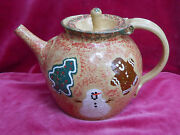 Three Rivers Pottery Snowman Gingerbread Pine Tree Teapot 1999 Coshocton Rare