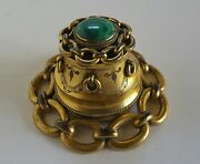 Antique Inkwell Malachite And Ormolu Nautical Victorian Gold Gilt Chains