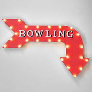 Bowling Alley Pin Bowl Rustic Vintage Style Metal Marquee Sign Light Up Arrow