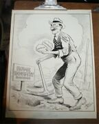 Original Neal Mccall Pen And Ink Political Cartoon 20s Oregon Products Pick