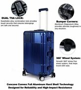 Luggage All Aluminum Blue Quality Durable 360 Degree Spinner Tsa Approved Lock