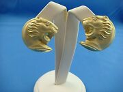 18k Yellow Gold Large Lion's Head Earrings With Diamond Eyes, 20 Grams, Italy