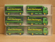Faller 985, Lot Of 3 Ho Karl Dischinger Mercedes Rigid Truck With Trailers, New
