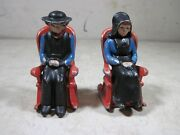 Vintage Antique Dalecraft Cast Iron Amish Salt And Pepper Shakers Rocking Chairs