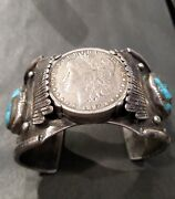 Phenomenal Vintage Zuni Kee Heavy Cuff Bracelet W Turquoise And Silver Dollar
