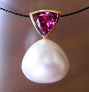 19mm White Aust South Sea Pearl 100 Untreated+tourmaline+18ct Gold Pendant+cert