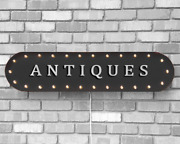 39 Antiques Flea Market Thrift Store Vintage Rustic Metal Marquee Light Up Sign