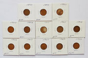 Lot Of 13 Mixed Date 1899 - 1909 U.s. Indian Head Pennies Extra Fine Cond