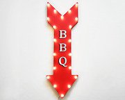 36 Bbq Barbecue Picnic Food Grill Out Rustic Metal Marquee Arrow Light Up Sign