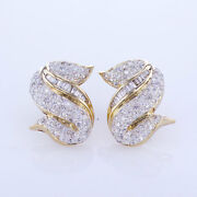 1.80ct F Vs Diamond Earrings S Shape 18k Yellow Gold 0.75and039and039 French Backs