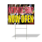Antique Shop Now Open Outdoor Lawn Decoration Corrugated Plastic Yard Sign