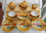 13 Pc Childs Tea Set Tree In The Meadow Windmill Teapot Creamer Japan Toy