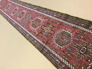 2and039.7 X 16and039 Red Navy Fine Geometric Oriental Rug Long Runner Hand Knotted Wool