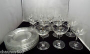 Antique Etched Scandinavian Crystal 8 Goblets 7 Sherbet/champ. Glasses And Plates